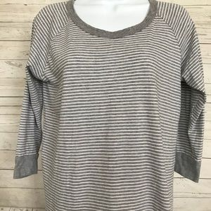 James Perse Sz 2 Striped 3/4 Sleeve Striped Top